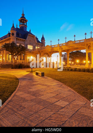 Argentina, Buenos Aires Province, Tigre, Twilight view of the Municipal Museum of Fine Art. - Stock Photo