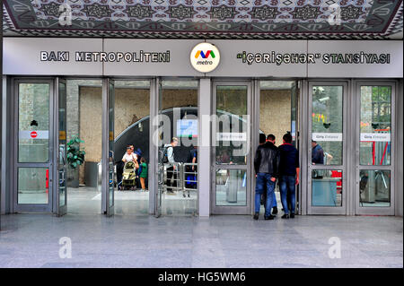 BAKU, AZERBAIJAN - SEPTEMBER 25: Entrance to the metro station of Baku on September 25, 2016. Baku is a capital - Stock Photo