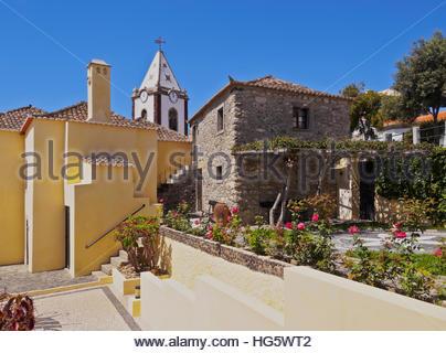 Portugal, Madeira Islands, Porto Santo, Vila Baleira, View of the Casa de Cristovao Colombo Museum and the Church - Stock Photo
