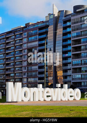 Uruguay, Montevideo, Pocitos, View of the Montevideo Sign. - Stock Photo
