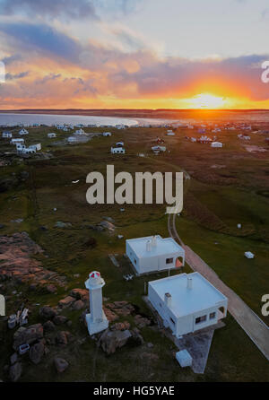 Uruguay, Rocha Department, Elevated view of the Cabo Polonio at sunset. - Stock Photo