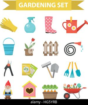 Gardening icon set, flat style. Garden and orchard collection tools decoration, isolated on white background. Vector - Stock Photo