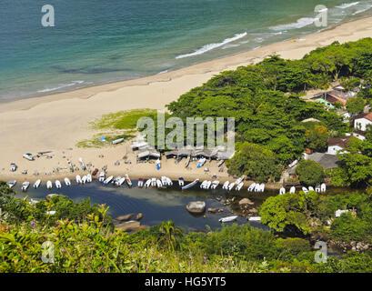 Brazil, State of Sao Paulo, Ilhabela Island, Elevated view of the beach in Bonete. - Stock Photo