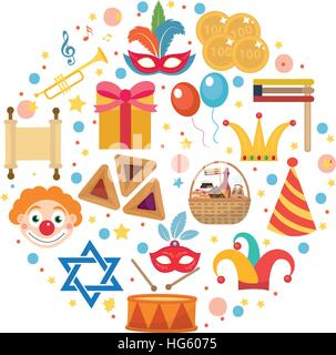 Purim icons set in round shape, isolated on white background. Vector illustration clip-art. - Stock Photo