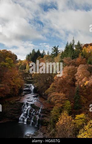 Autumn Colours at the Falls of Clyde, Lanark, Scotland - Stock Photo