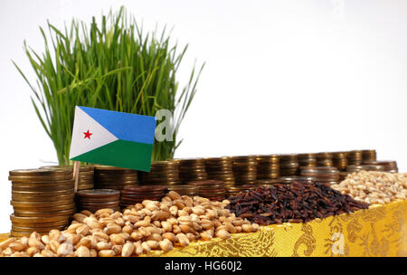 Djibouti flag waving with stack of money coins and piles of wheat and rice seeds - Stock Photo