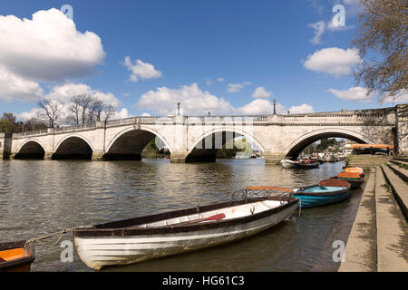 Richmond Upon Thames and bridge over the river - Stock Photo