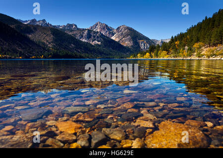 Twin Lakes near Bridgeport, CA. Mountain lake with reflections and clear water showing the rocks beneath. - Stock Photo