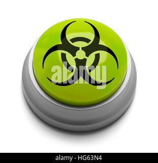 Green and Black Bio Hazard Button Isolated on White Background. - Stock Photo