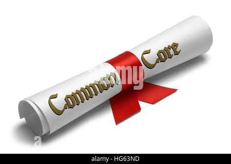Common Core Diploma Tied With Red Ribbon on a White Isolated Background. - Stock Photo