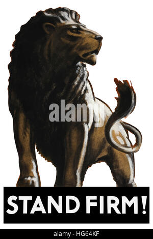 Vintage World War II poster of a male lion. - Stock Photo