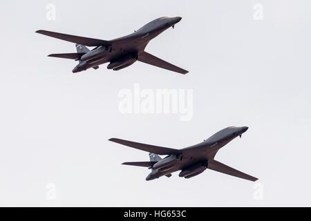 Two U.S. Air Force B-1B Lancers after a Red Flag mission in Nevada. - Stock Photo