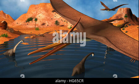 Pteranodon reptiles flying over a group of Brachiosaurus dinosaurs. - Stock Photo