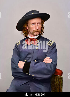 Civil War portrait of Major General George Armstrong Custer. - Stock Photo