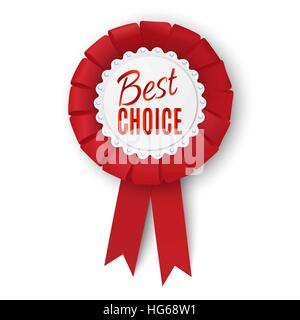 Realistic red fabric award ribbon isolated on white background. Badge Best choice. Vector illustration. - Stock Photo