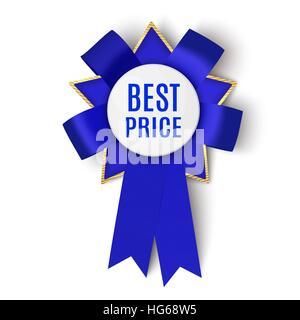 Realistic blue fabric award ribbon isolated on white background. Badge Best price. Vector illustration. - Stock Photo