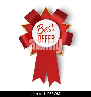 Realistic red fabric award ribbon isolated on white background. Badge Best offer. Vector illustration. - Stock Photo