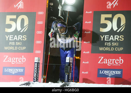 Zagreb, Croatia. 4th January, 2017. A celebration marking the 50th anniversary of the FIS World Cup in alpine skiing. - Stock Photo