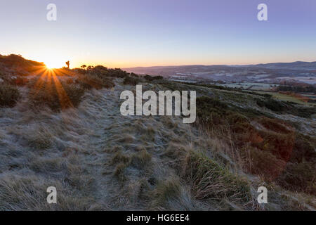 Flintshire, Wales, UK 5th January 2017, Clear sky and harsh temperatures have left many parts of the UK with a frost - Stock Photo