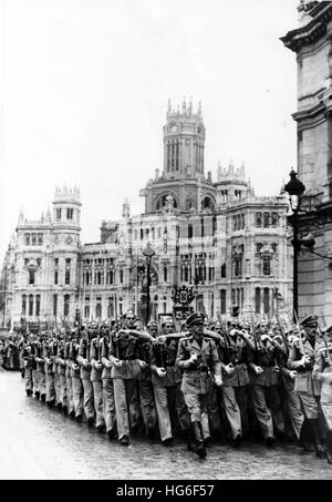 The Nazi propaganda picture shows a military parade on the occasion of the anniversary of the victory of Francos - Stock Photo