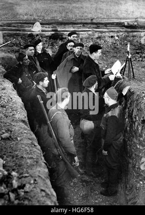The Nazi propaganda picture shows members of the Carlist militia 'Requeté' on the front during the Spanish Civil - Stock Photo
