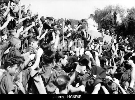 The Nazi propaganda picture shows fascist teenagers in Spain during a parade of the Italian Fascist youth organization - Stock Photo