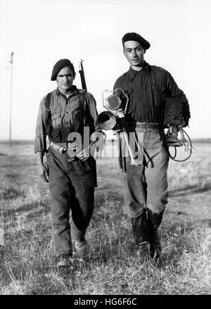 The Nazi propaganda picture shows members of the Carlist militia Requetés on the front during Spanish Civil War - Stock Photo