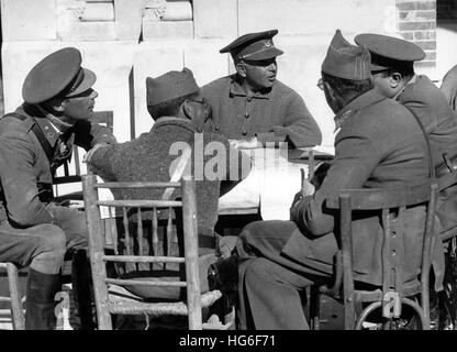 The Nazi propaganda picture shows the Spanish military officer and Carlist José Enrique Varela (middle) in his headquarter - Stock Photo