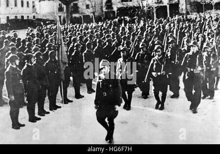 The Nazi propaganda picture shows the Thälmann Battalion of the International Brigades during the Spanish Civil - Stock Photo