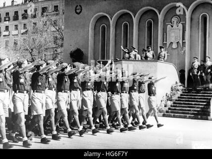 The Nazi propaganda picture shows the march of the fascist Falange Youth Movement in front of Spanish dictator Francisco - Stock Photo