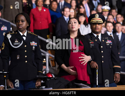 Joint Base Myers-Henderson Hall, Virginia, USA. 4th January, 2017.  Audience members watch the Armed Forces Full - Stock Photo