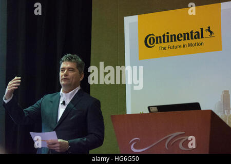 Las Vegas, Nevada, USA. 04th Jan, 2017. The Corporate Technology Officer of Continental Kurt Lehmann speaks at a - Stock Photo