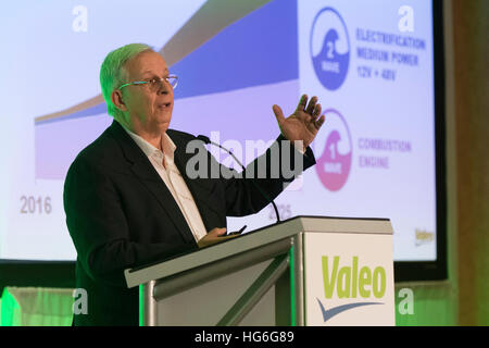 Las Vegas, Nevada, USA. 04th Jan, 2017. The Chairman and CEO of Valeo, Jacques Aschenbroich, speaks at a press conference - Stock Photo