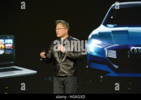 Las Vegas, Nevada, USA. 04th Jan, 2017. Nvidia CEO Jen-Hsun Huang appars at the CES technology trade show in Las - Stock Photo