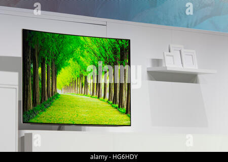 Las Vegas, Nevada, USA. 04th Jan, 2017. A Samsung television with 'QLED' technology is displayed at the International - Stock Photo