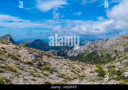 Hiking in the Tramuntana on GR 221, Mallorca, Spain - Stock Photo