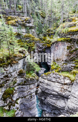 Maligne Canyon is a natural feature located in the Jasper National Park - Stock Photo