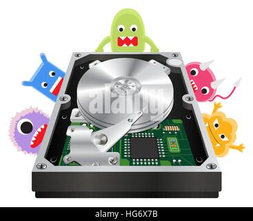 inside of a internal harddisk with a virus computer - Stock Photo
