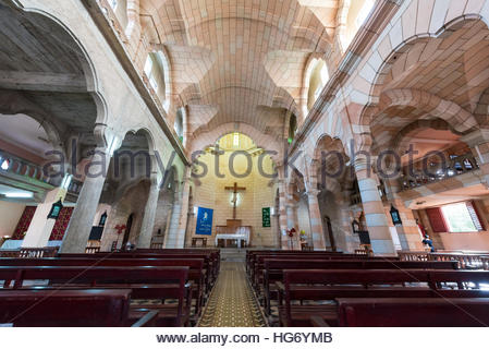 Saint Joseph or San Jose Catholic church interior details. View toward the altar. Beautiful colonial architecture - Stock Photo
