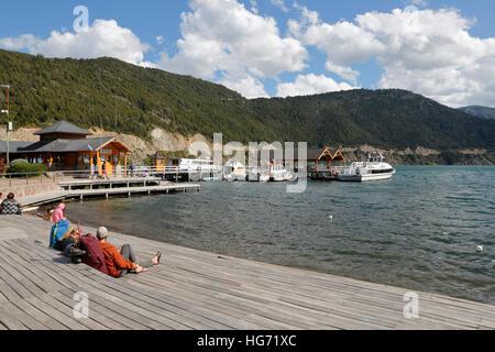 Pier on Lake Lacar, San Martin de los Andes, The Seven Lakes Drive, Nahuel Huapi National Park, The Lake District, - Stock Photo