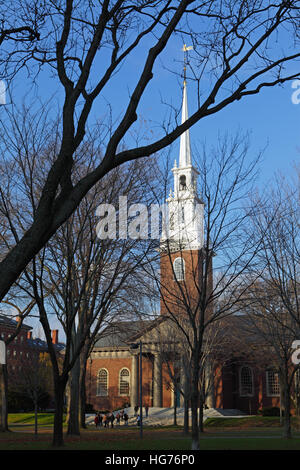 Harvard University campus on an autumn morning. The Memorial Church spire in The Yard. - Stock Photo