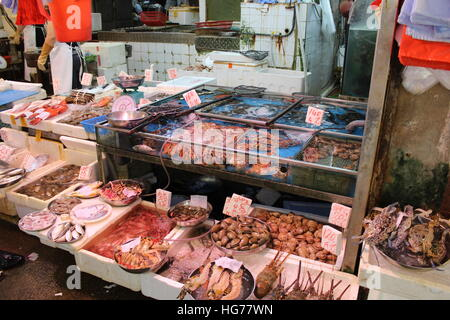Fresh seafood for sale in Hong Kong - Stock Photo