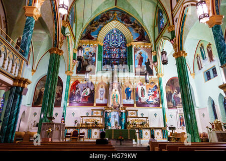 Manhattan New York City NYC NY Chelsea Our Lady of Guadalupe Shrine Saint St. Bernard Church interior Catholic altar - Stock Photo