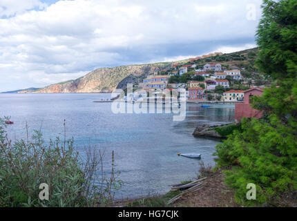 The stunning bay of Assos on the Island of Kefalonia in Greece - Stock Photo