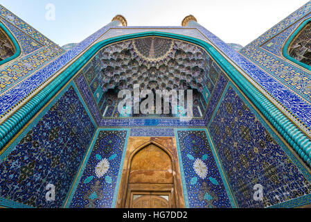 Main entrance to Shah Mosque also called Imam mosque in Isfahan city, Iran - Stock Photo
