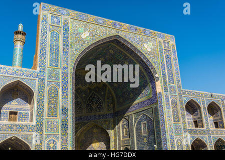 View from main courtyard of Shah Mosque also called Imam mosque in Isfahan, Iran - Stock Photo