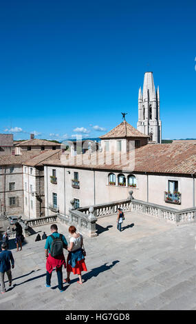 Collegiate Church of Sant Feliu, Girona, Spain - Stock Photo