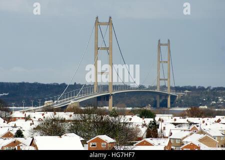 Humber bridge, barton on humber, single span suspension bridge, snow covered landscape - Stock Photo
