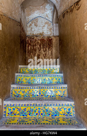 Tiled stairs in Ali Qapu palace in Isfahan city, Iran - Stock Photo