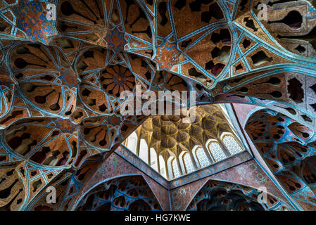 Ceiling of Music Hall in Ali Qapu palace in Isfahan city, Iran - Stock Photo